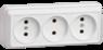Розетка 3-местная для открытой установки РС23-2-ОБ без  заземляющего контакта 10А ОКТАВА белый IEK