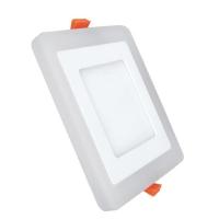 Светильник светодиодный 6+3W с декоративной подсветкой квадратный,белый,IP 20