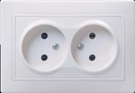 Розетка 2-местная РС12-2-КБ без заземляющего контакта без защитной шторки  10А керамика КВАРТА белый IEK