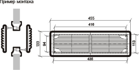 Решетка вентиляционная переточная 45х13 (комплект-2 шт.)