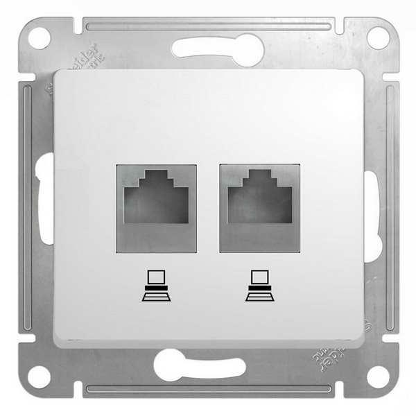 GSL000185KK  Розетка 2-я комп. RJ45, 5E, мех, БЕЛЫЙ (MS)