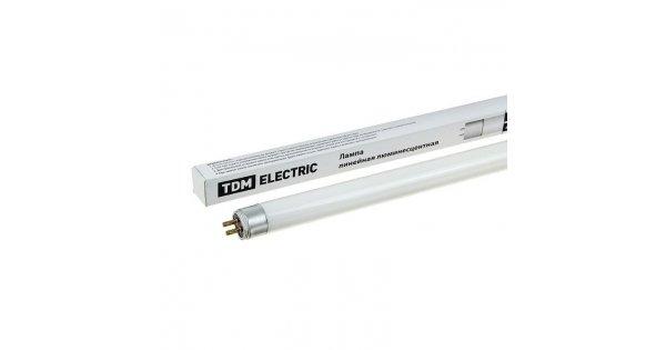 Лампа люминесцентная линейная двухцокольная ЛЛ-16/6 Вт, T5/G5, 4000 К, длина 226,3мм TDM