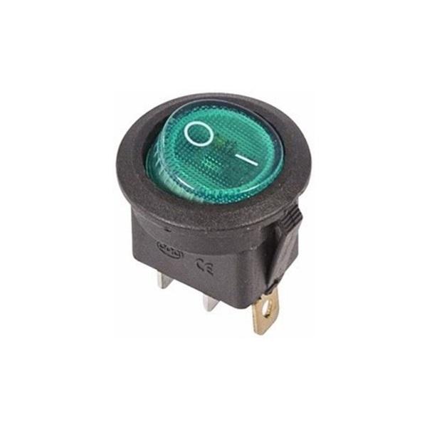 Выключатель клавишный круглый 250V 6А (3с) ON-OFF зеленый  с  подсветкой  (RWB-214, SC-214, MIRS-101-8)