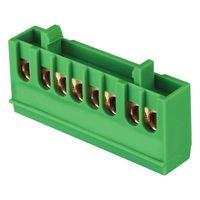 """Шина """"0"""" PE (6х9мм) 8 отверстий латунь зеленый  изолированный корпус на DIN-рейку EKF PROxima"""