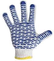 Перчатки  х/б с нанесением ПВХ («Волна»), 4 нити, 55-56 г, 7,5 класс вязки 09-0214
