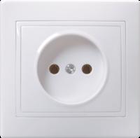 Розетка 1-местная РС10-2-КБ без заземляющего контакта без защитной шторки 10А керамика КВАРТА белый IEK