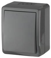 Выключатель одноклавишный серый IP54