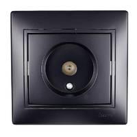 Розетка ТВ оконечная черный  бархат со вставкой MIRA 701-4242-130