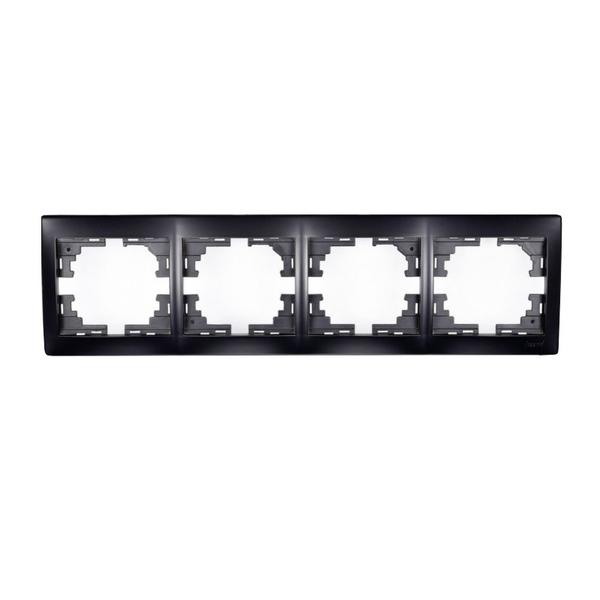 Рамка  4-ая горизонтальная черный бархат без вставки MIRA 701-4200-149