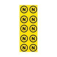 """Комплект наклеек из 10 шт. """"N"""", р-р 1,5*1,5 см, цветн., с/к из пленки ПВХ, с подрезкой"""