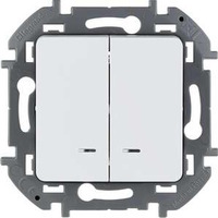 Legrand - Inspiria - Выключатель двухклавишный с подсветкой (белый) - Артикул: 673630