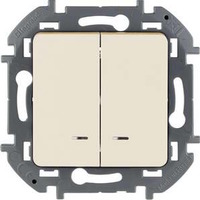 Legrand - Inspiria - Выключатель двухклавишный с подсветкой (сл.кость) - Артикул: 673631