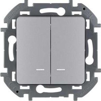 Legrand - Inspiria - Выключатель двухклавишный с подсветкой (алюминий) - Артикул: 673632