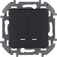 Legrand - Inspiria - Выключатель двухклавишный с подсветкой (антрацит) - Артикул: 673633