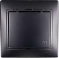 Розетка с/з  с крышкой керамика черный бархат со вставкой MIRA 701-4242-123