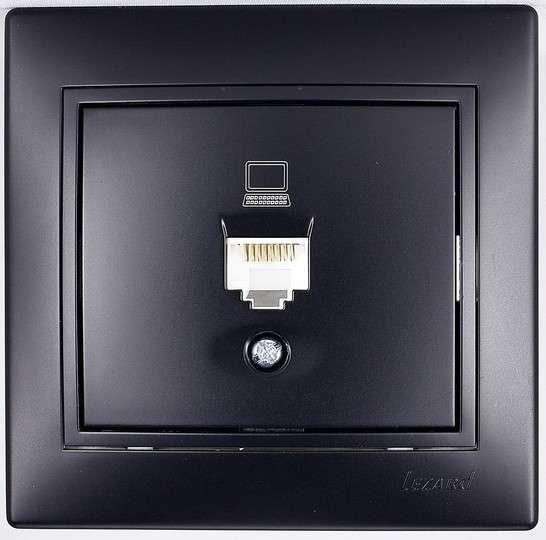 Розетка компьютерная евро черный бархат со вставкой MIRA 701-4242-139