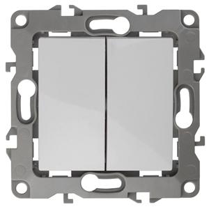 ЭРА Выключатель двойной,  10АХ-250В, без м.лапок, Эра12, белый