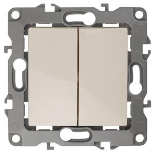 ЭРА Выключатель двойной, 10АХ-250В, без м.лапок, Эра12,  слоновая кость