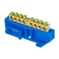 """Шина """"0"""" N (6х9мм)  8 отверстий латунь синий изолятор на DIN-рейку EKF PROxima"""