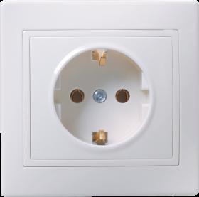 Розетка 1-местная РС10-3-КБ с заземляющим контактом без защитной шторки  16А керамика КВАРТА белый IEK