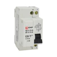 Дифференциальный автомат АД -12 25А/30мА тип АС х-ка C эл. 4,5кА EKF Basic