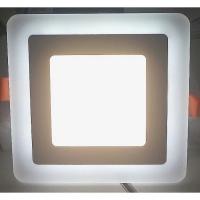 Светильник светодиодный 3+2W с декоративной подсветкой квадратный,белый,IP 20