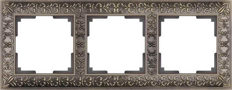 WL07-Frame-03/Рамка на 3 поста (бронза)