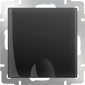WERKEL WL08-SKGSC-01-IP44 /Розетка влагозащ. с зазем. с защит. крышкой и шторками(черный матовый