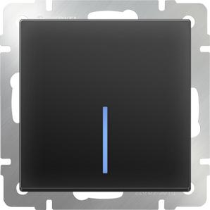 WERKEL WL08-SW-1G-2W-LED/Выключатель одноклавишный проходной с подсветкой (черный матовый)