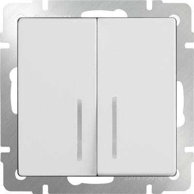 WERKEL WL01-SW-2G-LED / Выключатель двухклавишный с подсветкой (белый)