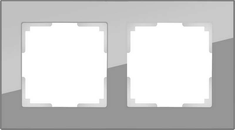 WL01-Frame-02/Рамка на 2 поста (серый,стекло)