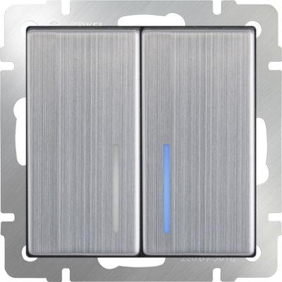 WERKEL WL02-SW-2G-LED /Выключатель двухклавишный с подсветкой (глянцевый никель)