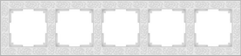 WL05-Frame-05-white/Рамка на 5 постов (белый)