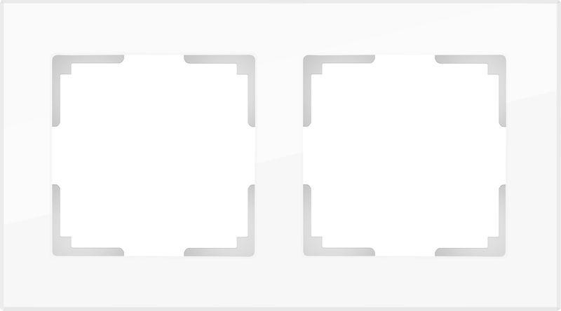 WL01-Frame-02/Рамка на 2 поста (белый,стекло)