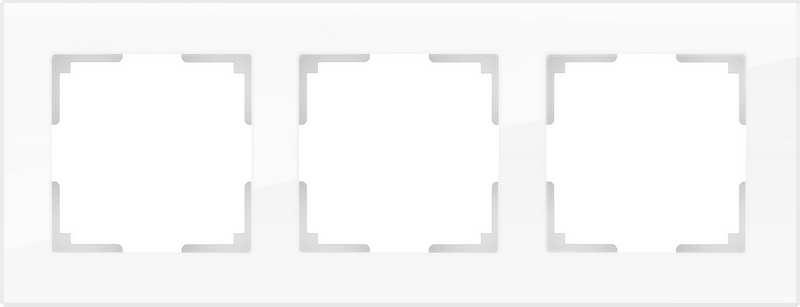 WL01-Frame-03/Рамка на 3 поста (белый,стекло)