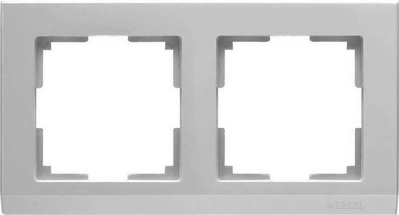 WL04-Frame-02-silver/Рамка на 2 поста (серебряный)