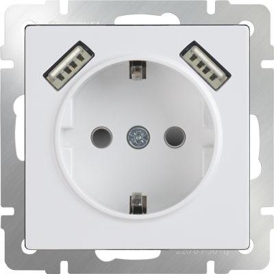 WERKEL WL01-SKGS-USBx2-IP20 / Розетка с заземлением, шторками и USBх2 (белая)