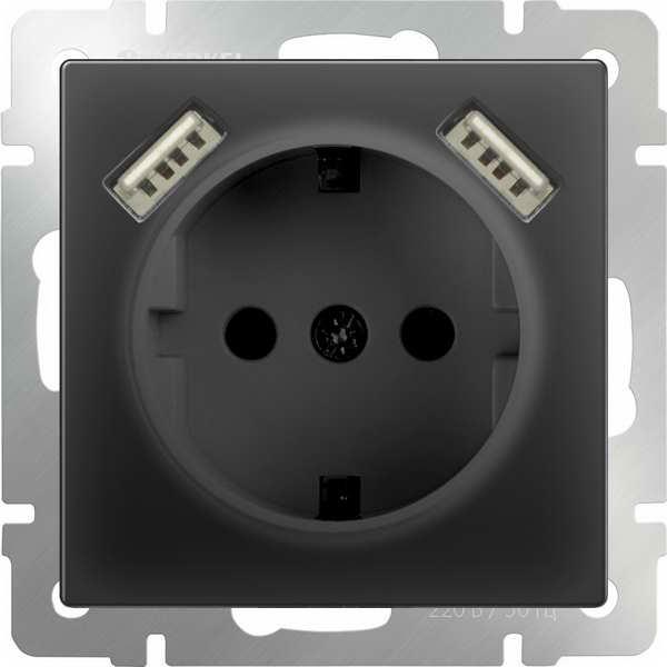 WERKEL WL08-SKGS-USBx2-IP20 / Розетка с заземлением, шторками и USBх2 (черный матовый)