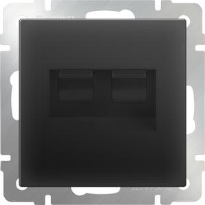 WERKEL WL08-RJ45+RJ45 / Розетка двойная Ethernet RJ-45 (черный матовый)