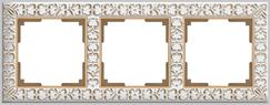 WL07-Frame-03/Рамка на 3 поста (белое золото)
