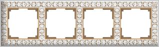 WL07-Frame-04/Рамка на 4 поста (белое золото)