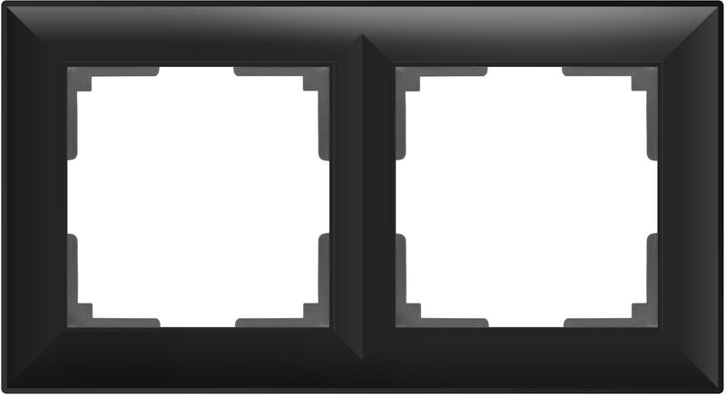 WL14-Frame-02/Рамка на 2 поста (черный матовый)