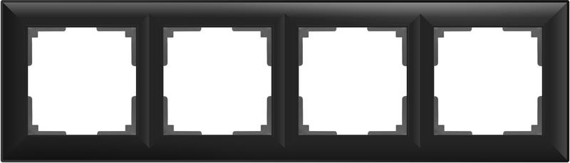 WL14-Frame-04/Рамка на 4 поста (черный матовый)