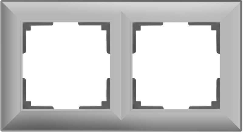 WL14-Frame-02/Рамка на 2 поста (серебряный)