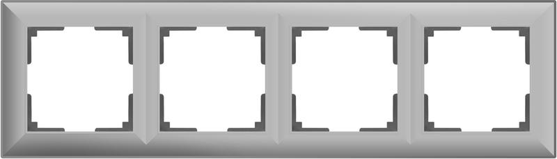 WL14-Frame-04/Рамка на 4 поста (серебряный)