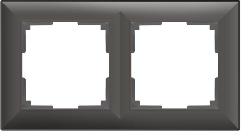 WL14-Frame-02/Рамка на 2 поста (серо-коричневый)