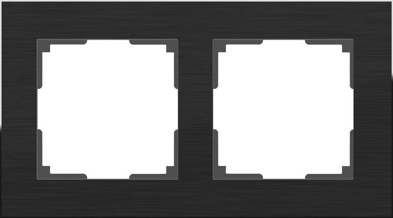 WL11-Frame-02/Рамка на 2 поста (черный алюминий)