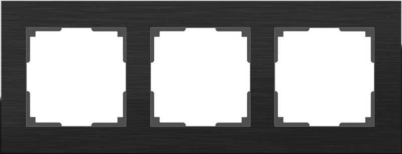 WL11-Frame-03/Рамка на 3 поста (черный алюминий)