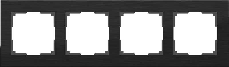 WL11-Frame-04/Рамка на 4 поста (черный алюминий)