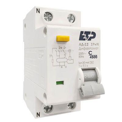 Дифференциальный автомат АД-12 1P+N 40A/30мА (хар. С) ETP